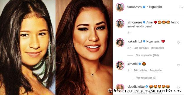 Simone posta foto no estilo 'antes e depois' e comentário do marido anima fãs