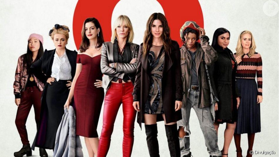 Lou, personagem de Cate Blanchett em 'Oito Mulheres e um segredo', usa e abusa de peças de couro nos looks