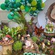 Decoração da festa de Joaquim, filho de Camilla Camargo e Leonardo Lessa, foi inspirada na selva