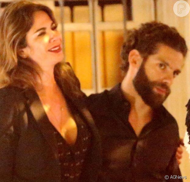 Luciana Gimenez curte noite com namorado, Eduardo Buffara, em restaurante no Rio de Janeiro
