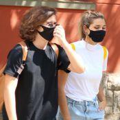 Casal básico! Sasha Meneghel usa look comfy em restaurante com João Figueiredo