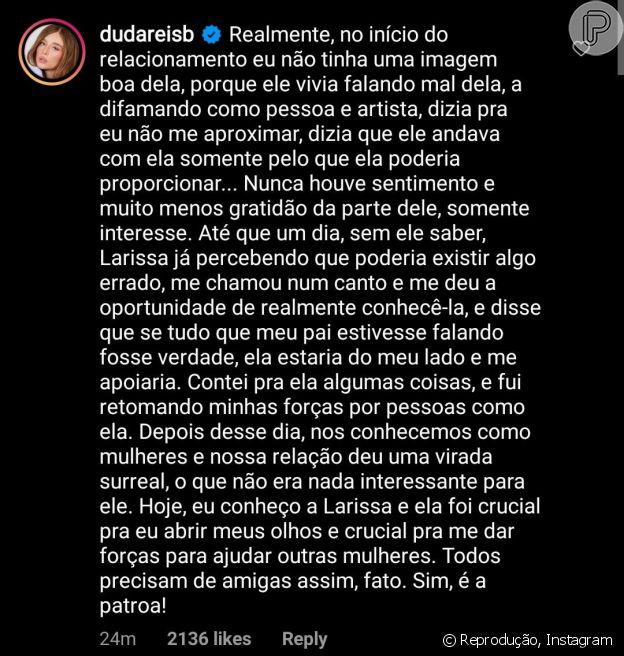 Duda Reis detalha relação de amizade com Anitta