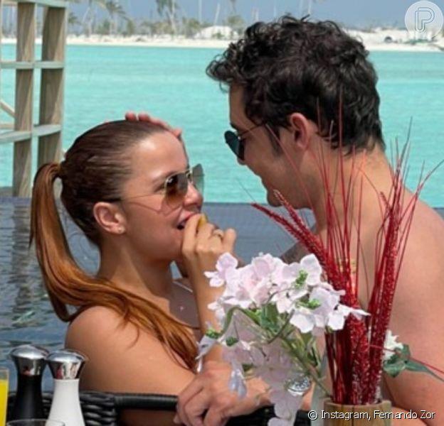 Maiara e Fernando Zor estão curtindo férias românticas nas Ilhas Maldivas