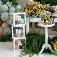 Ana Hickmann mostrou os detalhes da decoração da festa, com o tema jardim