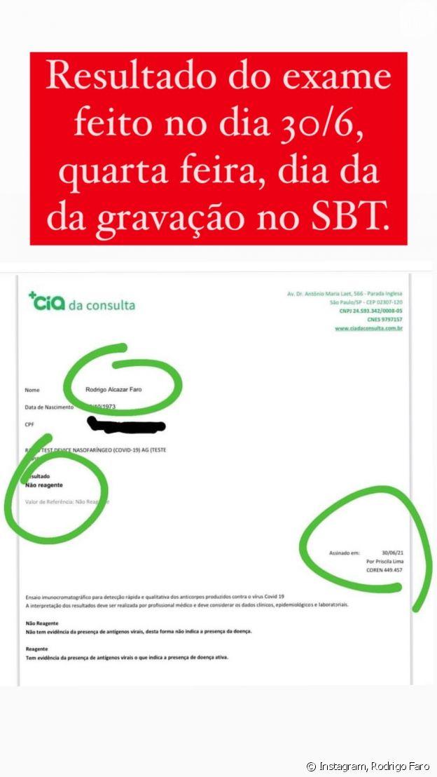 Rodrigo Faro mostrou resultado negativo para teste de Covid-19 no dia de gravação no SBT