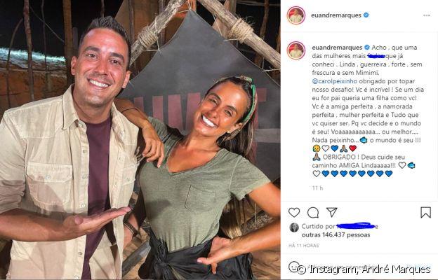 André Marques se declara para Carol Peixinho: 'Mulher perfeita'