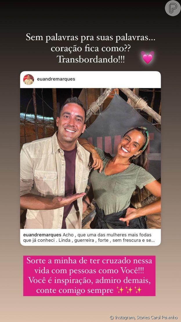Carol Peixinho agradece carinho de André Marques em postagem nos stories