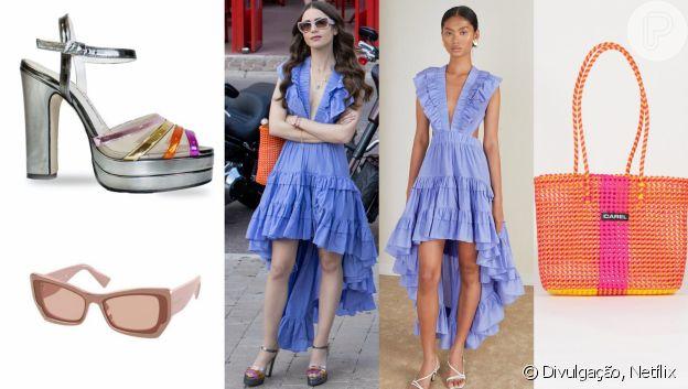 Detalhes do look com vestido azul em 'Emily in Paris 2'
