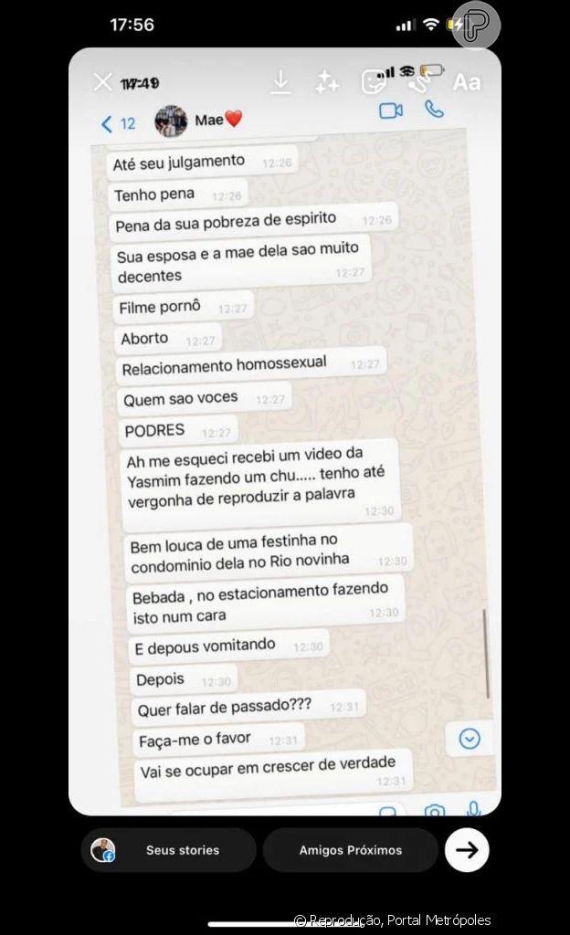 Simone Medina afirma ter vídeos íntimos de Yasmin Brunet