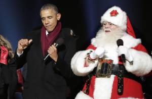 Barack Obama dança com Papai Noel e inaugura árvore de Natal da Casa Branca