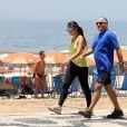 Patricia Poeta e o marido, Amauri Soares, se exercitam no Leblon