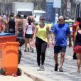 Patricia Poeta e Amauri Soares se exercitam no Leblon