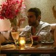 Chace Crowford jantou no restaurante Sushi Leblon, no Rio, após se divertir na Sapucaí