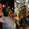 Sabrina Sato distribuiu beijos no sambódromo do Rio. Além de beijar muito o namorado, João Vicente de Castro, a apresentadora deu um selinho em Thaila Ayala enquanto a atriz desfilava pela Grande Rio, no domingo de Carnaval. Já no desfile das Campeãs, ela deu um beijo na rainha de bateria do Salgueiro, Viviane Araújo