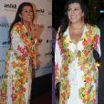 A apresentadora Regina Casé repetiu o look do casamento de Thiaguinho e Fernanda Souza no baile de gala amfAR