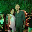 O casal Amandha Lee e Nalbert  esteve na festa de aniversário de Carol Sampaio
