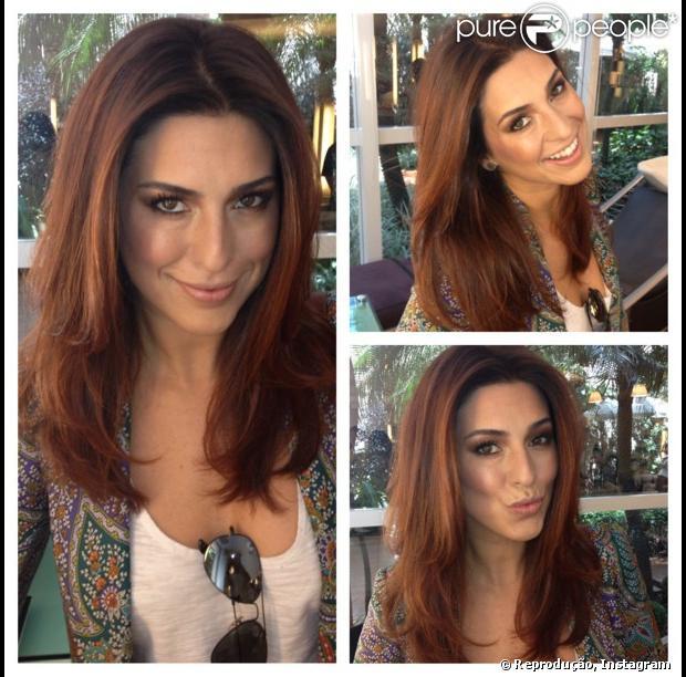 Fernanda Paes Leme fica ainda mais ruiva com o hairstylist Marcos Proença, em 1 de abril de 2013