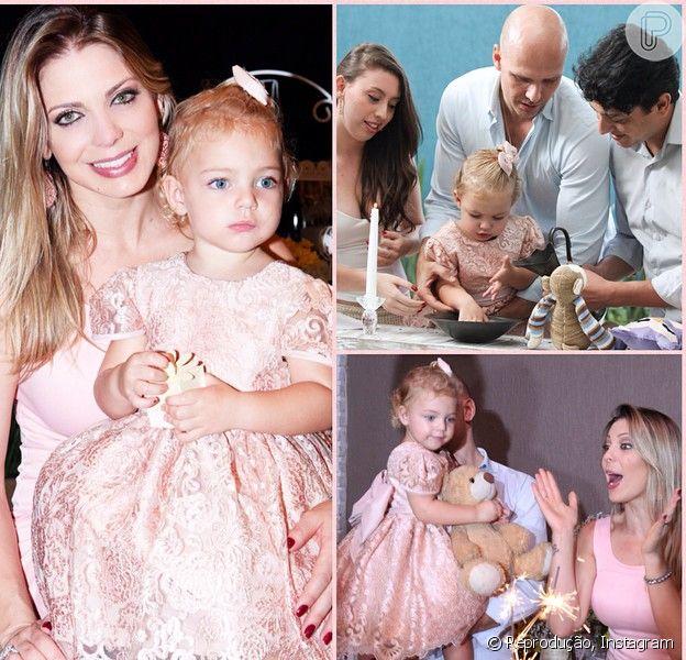 Sheila Mello batiza a filha, Brenda, no seu aniversário de dois anos: 'Coração de mãe feliz'