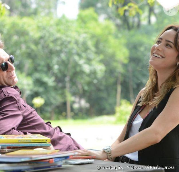 Malu (Fernanda Vasconcellos) e Plínio (Herson Capri) levam bento (Marco Pigossi) a um evento social, em 'Sangue Bom', em 20 de maio de 2013