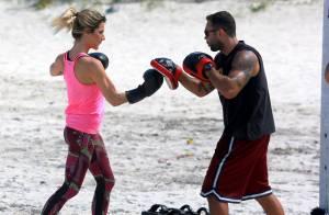 Giovanna Ewbank mostra agilidade em treino funcional na praia
