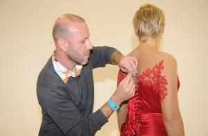 Xuxa faz prova do vestido bordado à mão que usará na festa de seus 50 anos