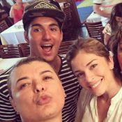 Surfista Gabriel Medina tieta Grazi Massafera em restaurante no Rio