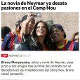 'A namorada de Neymar desperta paixões', escreveu o jornal 'Marca'