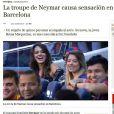 Além de destacar Bruna Marquezine, o jornal espanhol 'ABC' também falou da presença dos amigos do craque: 'A trupe de Neymar causa sensação em Barcelona'