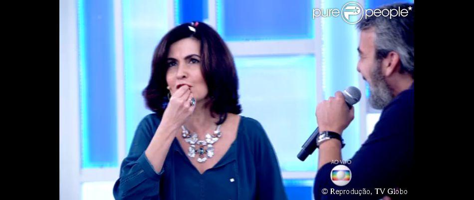 Fátima Bernardes participa de guerra de travesseiro no programa 'Encontro' desta quarta-feira, 03 de junho de 2015
