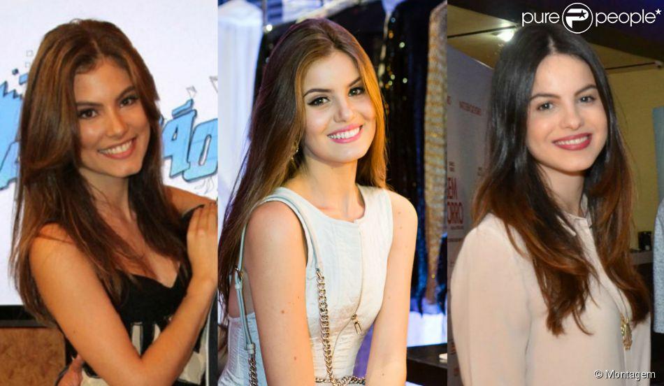 Camila Queiroz (no meio) está sendo comparada pelos internautas com a atriz de 'Malhação' Bruna Hamú, mas desde a infância a modelo chamava atenção por parecer com a atriz Stephany Brito