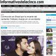 O portal do canal de web 'Tele 5' relembrou a comoção nacional após a morte de Cristiano Araújo