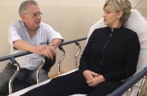Andréa Nóbrega deixa hospital após forte crise na coluna. 'Está bem', diz marido