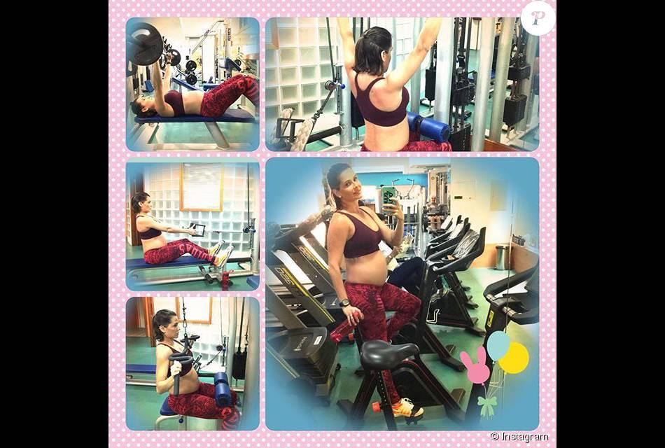 Deborah Secco exibiu sua barriguinha de gravidez nesta sexta-feira, dia 14 de agosto de 2015, fazendo musculação
