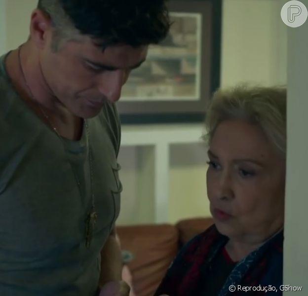 Fábia (Eva Wilma) vai descobrir o relacionamento do filho, Anthony (Reynaldo Gianecchini) com Maurice (Fernando Eiras), na novela 'Verdades Secretas'