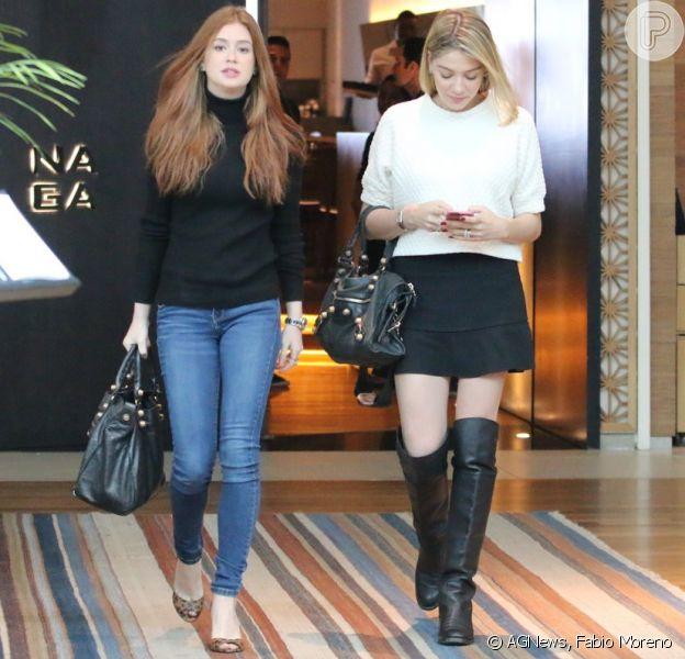 Marina Ruy Barbosa e Luma Costa se encontraram para um almoço nesta quinta-feira 3 de setembro de 2015 e chamaram a atenção por usarem o mesmo modelo de bolsa