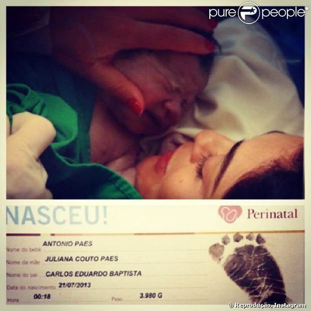 """Juliana Paes postou a primeira foto do bebê no Instagram. """"É felicidade demais!!! Estou explodindo de alegria e queria dividir com vcs!!!! Obrigada por tantas mensagens de carinho. Com amor Ju #kate e eu sabemos!!!"""""""