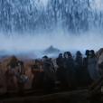 Hebreus avançam pela abertura do Mar Vermelho, em cena  da novela 'Os Dez Mandamentos'
