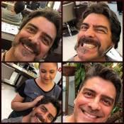 Junno Andrade muda visual e raspa bigode após acabar de gravar novela na Record
