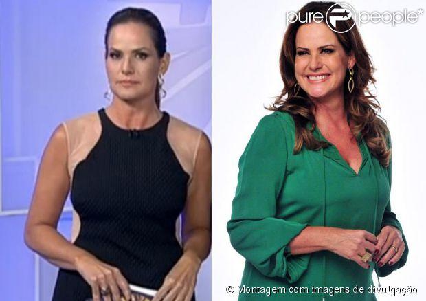 Renata Ceribelli fez sucesso neste domingo, 25 de agosto de 2013, visivelmente mais magra na TV. À esquerda, a jornalista apresenta o 'Fantástico' elegante em um vestido Tufi Duek. À direita, ela posa com uma camisa verde e o rosto mais cheinho em março deste ano
