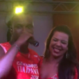 Fernanda Souza e Thiaguinho se divertiram em camarote