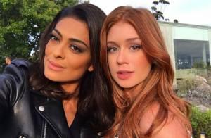 Marina Ruy Barbosa e Juliana Paes gravam no Uruguai e posam juntas: 'Lindo!'