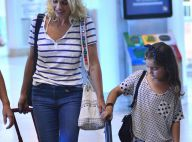 Flávia Alessandra embarca com a filha caçula, Olívia, e as duas esbanjam estilo