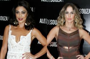 Juliana Paes e Deborah Secco apostam em looks sexy para evento de beleza no Rio