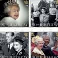 No ano em que completa 90 anos, a rainha Elizabeth II ganhou uma coleção de selos comemorativos com fotos em diferentes fases da vida