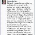 Mãe de Monique Evans, Conceição Nery, diz no Facebook que a filha está precisando de carinho