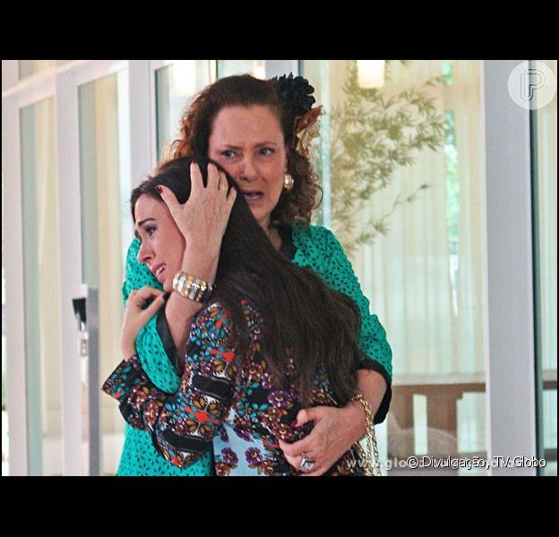 Eudóxia (Ângela Rabelo) proíbe Márcia (Elizabeth Savala) de morar com Valdirene (Tatá Werneck), em 'Amor à Vida'