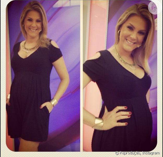 Ana Hickmann compartilha foto nos bastidores do 'Programa da Tarde' exibindo barriga de grávida, em 6 de novembro de 2013: 'O ursinho está crescendo rápido'