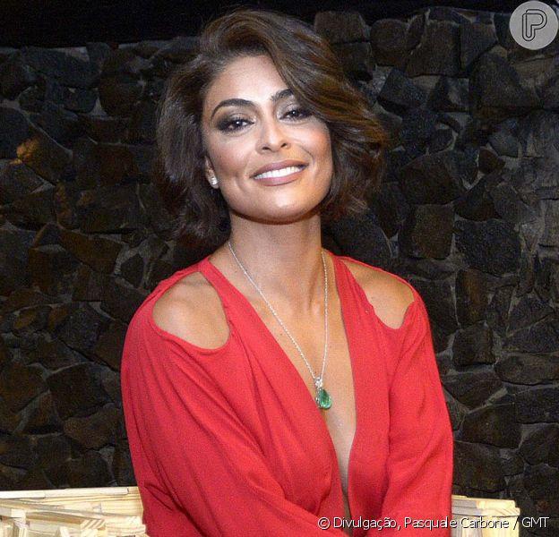 Juliana Paes aposta em vestido vermelho decotado de R$ 1,3 mil em evento