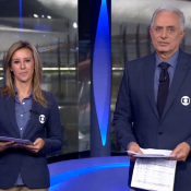 Após polêmica, Cris Dias ganha 'boa noite' de William Waack no 'Jornal da Globo'