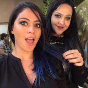 Carol Castro muda o visual e pinta as pontas do cabelo de azul e roxo: 'Radical'